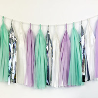Lavender Mint Tassel Garland  - Tissue Paper Tassel Garland - Party Decoration // Wedding Decor // Nursery Decoration