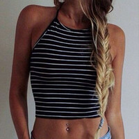 Fashion Women Boho Striped Tank Tops Casual Summer Sleeveless Vest Crop Top Sexy Camis