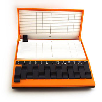 Vintage telephone number index.  Flip Up Telephone Index, Orange black plastic, Card index, Retro, Arlac, West Germany.