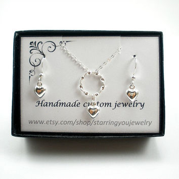 Heart Necklace and Earring Set, Sterling Silver Jewelry, Flower Girl Jewelry Set, Dainty, Gifts for Girls, Valentine Gifts, Gifts for Her