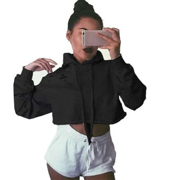 Sexy Women Blouse Hoodie Sweatshirt Short Jumper Crop top Pullover Tops Full Sleeve Cotton Black Clothing Blusas