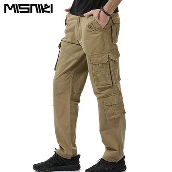 MISNIKI Solid Cotton Cargo Pants Men Casual Tactical Trousers Men Pantalon Homme