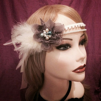 Romantic 1920's Inspired Ornate Feather Flapper Blue Lace Flower Pearl Rhinestone Headband Headpiece 20s Feather Art Deco Decorative Gatsby