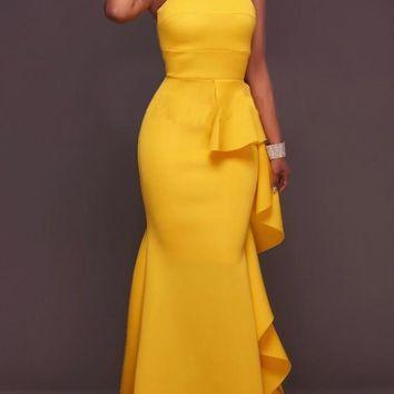 Yellow Mermaid Bandeau Ruffle Irregular Draped Off Shoulder Cocktail Party Maxi Dress