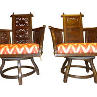 Hand-Carved  Swivel Chairs, Pair