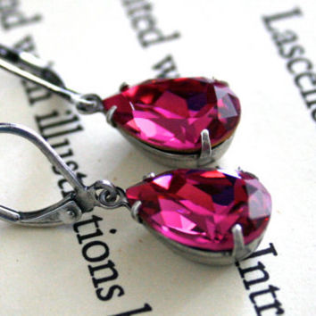 Fuchsia Swarovski Crystal Earrings, Oxidized Silver, Pears, Lever Back Ear Wires, Pop of Color, Fall Fashion