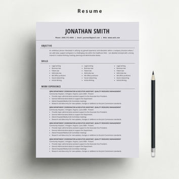 Professional Resume/CV Template with FREE Matching Cover Letter and Business Card Template