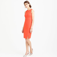 Sleeveless side-slit sheath dress in stretch cotton