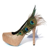 Peacock Feather Glitter Pumps