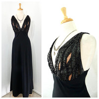 Vintage 1980s Dress - Black Crepe Gown Deep-V Neck Beaded Sequin Bust Kathryn Dianos Neiman Marcus Evening Gown