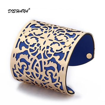 *Women Cuff Bracelets Gold -color Punk Style PU Leather Bangles For Women Vintage Hollow Out Design(s0008)