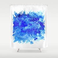 Blue Floral Pattern 02 Shower Curtain by Aloke Design