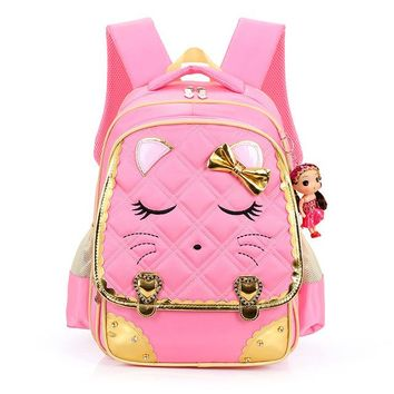 School Backpack Cute Cartoon Cat Girls School Bags Princess Pink Nylon Children Backpacks For Primary School Students Schoolbag Kids Satchels AT_48_3