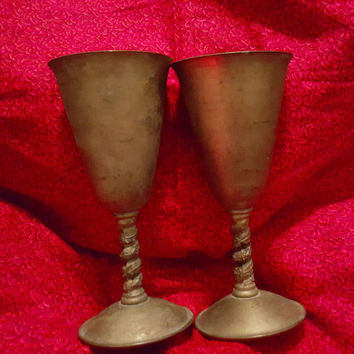 A Set of Two Vintage F.P. Brass Silver Plate Wine Glass / Goblet Made in Spain