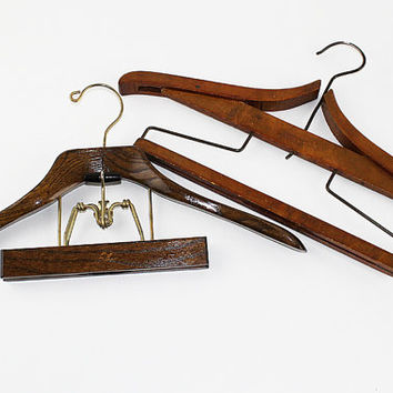 Vintage Wooden Setwell and Perfecto Suit Hangers