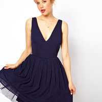 ASOS Deep Plunge Dress Skater In Plain