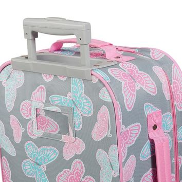Mackenzie Navy Butterfly Floral Luggage | Pottery Barn Kids