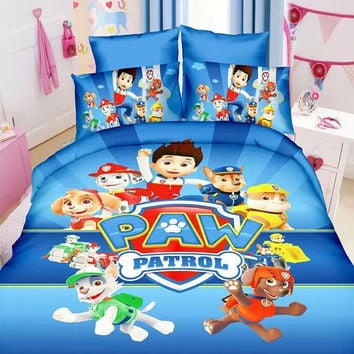 2016 HOT SALE Fashion Bedding set 3pcs Cartoon paw patrol  Noble High Quality   Bed linen   Bedclothes Duvet cover set