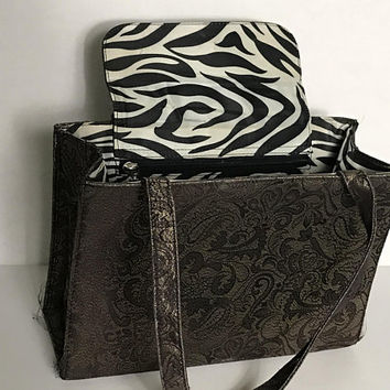 Vintage Kate Spade Sam Box Bag / Shoppers Mini Tote Bag / Shimmery Iridescent Brown Gray Floral Paisley Satin / Nylon Zebra Print Lining