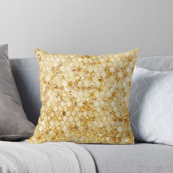 'Gold Metal Shimmering Mermaid Scales ' Throw Pillow by UtArt