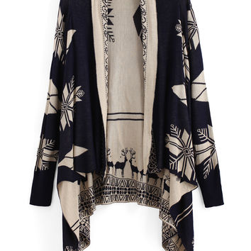 Fall Fashion Navy Long Sleeve Deer Print Cardigan