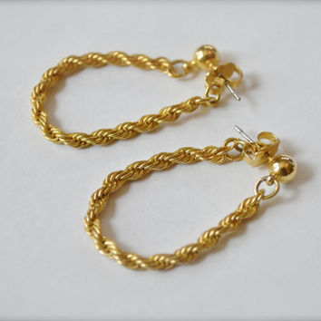 Vintage Earrings, Earrings, Chain Earrings, Dangle Earrings, Goldtone Earrings, Gold Earrings, Pierced Earrings, Chain Link Earrings