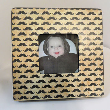 "Mini Mustaches Black Wooden Photo Frame - 3.75"" x 3.75"" Opening - Distressed khaki background"