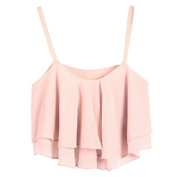 LookbookStore Summer Fashion Ruffled Layers Camisole Women's Crop Top Pink Color US 4