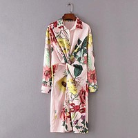 Women vintage front blowknot decoration striped dress elegant fashion lady long sleeve printing casual slim dress DS0381