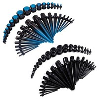 BodyJ4You Gauges Kit Plugs Tapers Acrylic Blue Black 14G-00G Stretching 72 Pieces