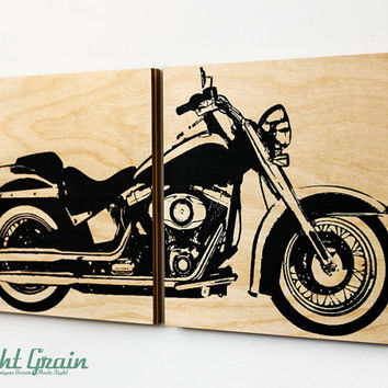 Custom Motorcycle Wall Art - Harley Davidson Softail on Woodgrain panels