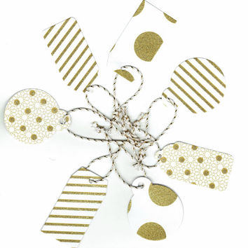 Stripes, Dots, Gift Tags, Die Cut, 7 Gift Tags, Assorted Gift Tags, White, Gold, Christmas, Christmas Ornament, Christmas Tree, Name Tag