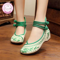 Bamboo Old Beijing Embroidered Women Shoes Mary Jane Flat Heel Denim Chinese Style Casual Cloth Plus Size Shoes Woman