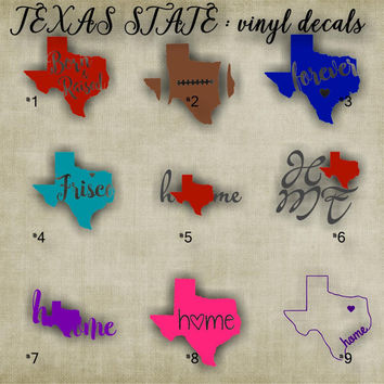 TEXAS vinyl decals - 1-9 - car window sticker - custom texas car sticker - personalized decal - car sticker - vinyl sticker - decal
