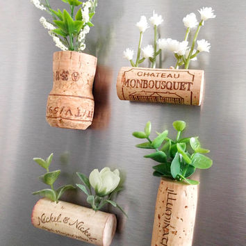Wine Cork Magnets- Set of 4 / Wine Cork Planters / Faux Succulent Planters