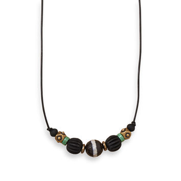 """20"""" Men's Brass Necklace with Agate and Wood"""