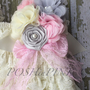Flower girl dress, ivory country Champagne, lace dress, flower girl, vintage, ruffle dress, baby dress, pink and grey dress sash