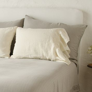 Gabriella Standard Pillowcase with Linen Ruffle pair in CHAMPAGNE (Set of 2)