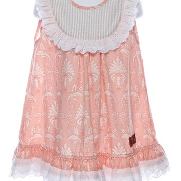 Millie Jay Peaches & Cream Girls Print Dress with Lace