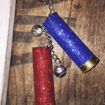 Red and Blue Glitter 12 Gauge Shotgun Shell Keychain with Baseball Charms