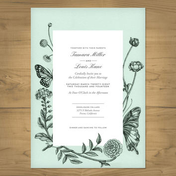 Elegant foliage wedding invitation - printable invitation - Customize with your wedding colors