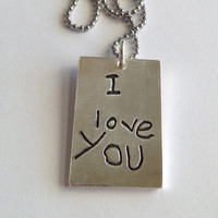 Double Sided Memorial Rectangle Pendant in Your Actual Loved Ones Writing-Silver or can be a Pendant