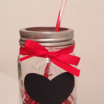 "Pint-sized Mason Jars with Straw & Customizable Chalkboard Heart. At Checkout, in the ""Additional Note to Seller"" Insert Name to Customize!"