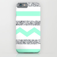 mint and glitter stripes iPhone & iPod Case by Hannah