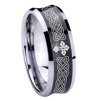 8mm Celtic Cross Concave Black Tungsten Carbide Custom Mens Ring