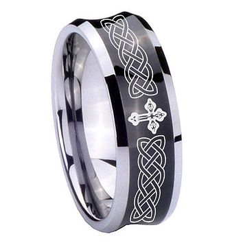 8MM Black Concave Celtic Cross Two Tone Tungsten Carbide Laser Engraved Ring