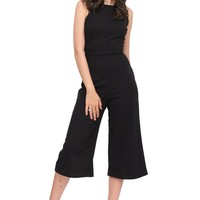 Work N Night out Cutout Lace Back Square Neck Wide Leg Jumpsuit