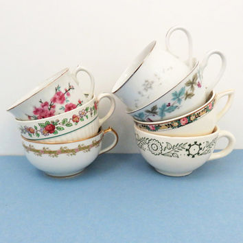 7 mismatched tea cups or coffee cups - Instant cup collection - Bridal shower favors - Unique party favors - Cottage chic decor
