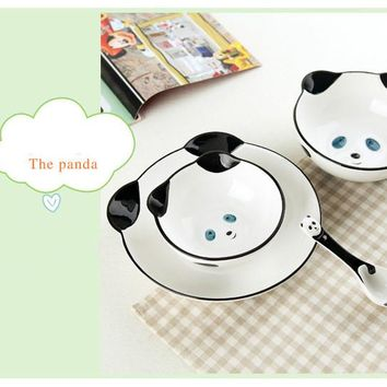 4pcs/Set Children's Tableware Bowl Cartoon Ceramic Dish Gift Set 3D Hand-painted Animal Bowl