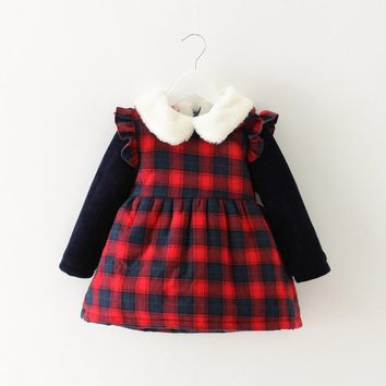 Warm Winter Long Sleeve Baby Infants Fur Collar Children Girls Kids Velvet Plaided Thicken Princess Party Dress Vestidos S4238